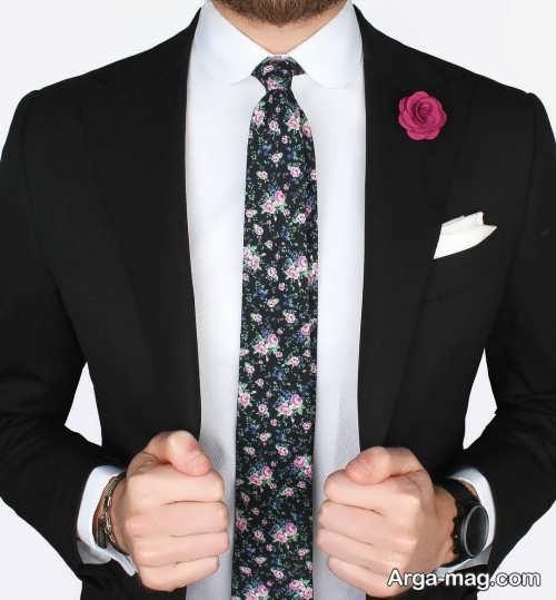 کراوات طرحدار مناسب کت شلوار مشکی