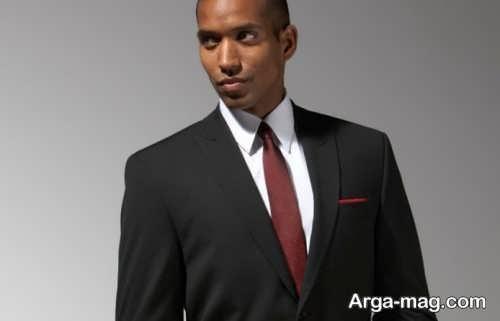 کراوات زرشکی مناسب کت شلوار مشکی