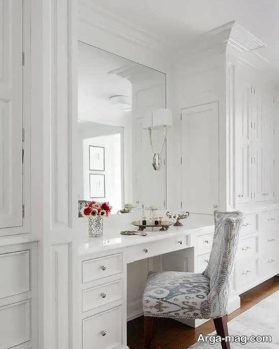 مدل کمد دیواری با میز آرایش برای دکوراسیون اتاق خواب