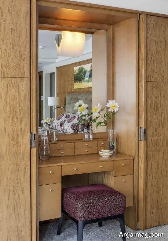 تصاویر شیکی از کمد دیواری با میز آرایش