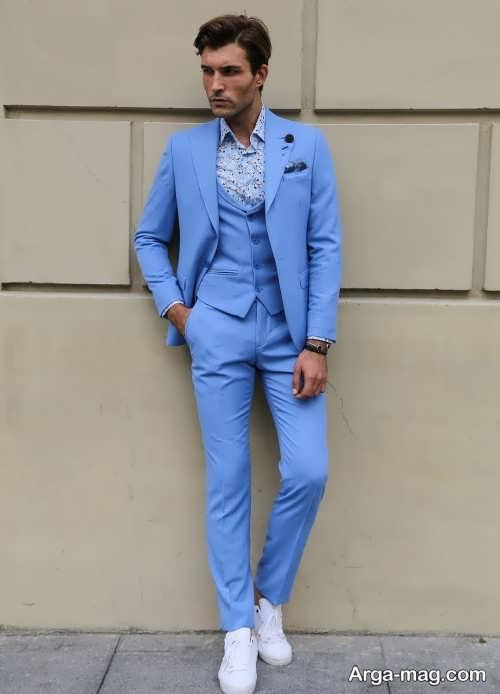 مدل کت و شلوار آبی روشن