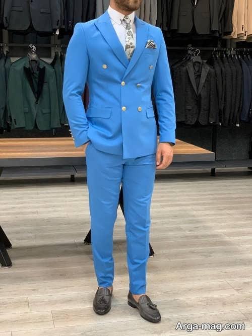 کت شلوار آبی روشن