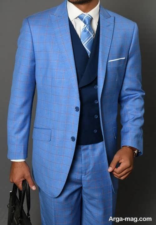 مدل کت و شلوار جدید آبی مردانه