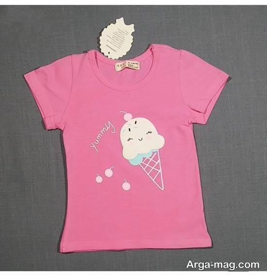انواع تیشرت دخترانه با طرح بستنی
