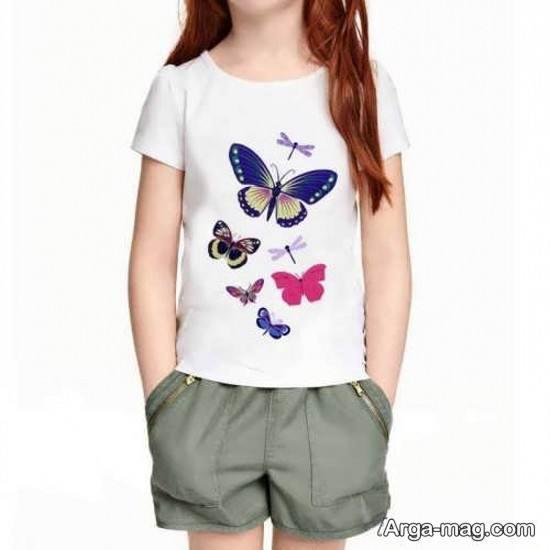 تیشرت دخترانه با طرح پروانه