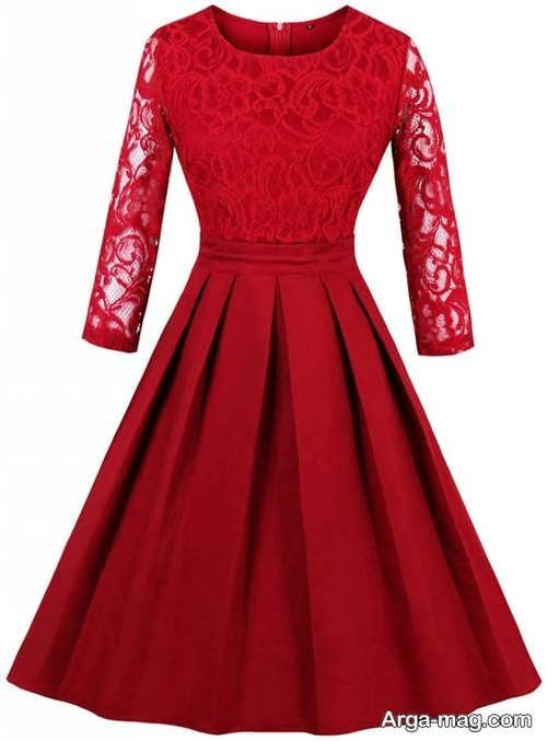 مدل لباس مجلسی قرمز بالای زانو