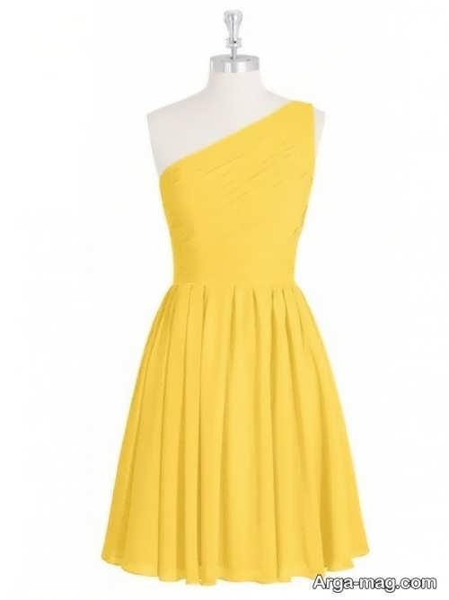 مدل لباس مجلسی زرد بالای زانو