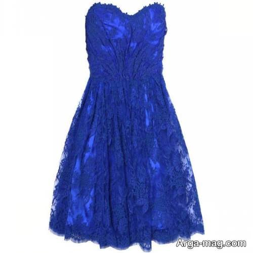 مدل لباس مجلسی آبی بالای زانو