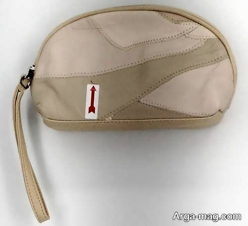 کیف لوازم آرایش کرم رنگ