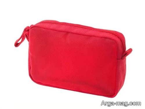 مدل کیف قرمز و ساده مخصوص لوازم آرایشی