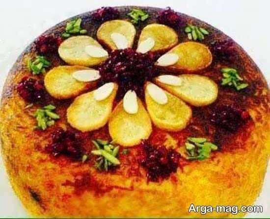 طراحی و چیدمان زیبای ته دیگ سیب زمینی