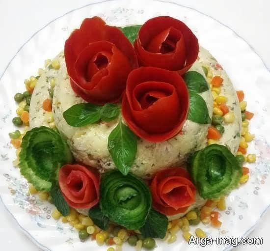 ایده هایی زیبا و منحصر به فرد ازتزیین سالاد به شکل گل