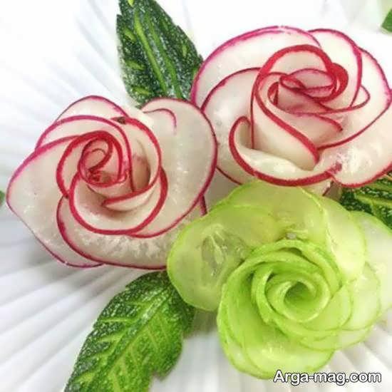 تزیینات زیبا و منحصر به فرد سالاد به شکل گل