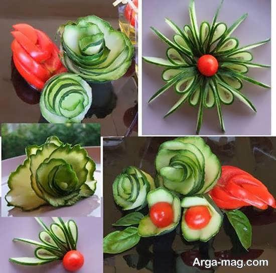 تزیین سالاد به شکل گل های مختلف