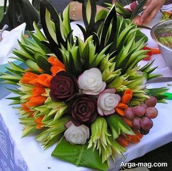 انواع نمونه های اشتهابرانگیز سالاد به شکل گل