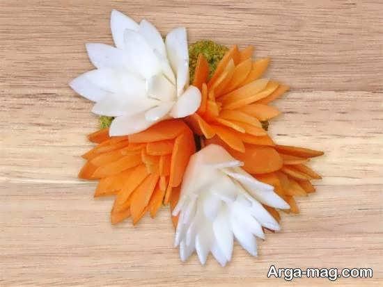 نمونه هایی ایده آل و ناب از تزیینات سالاد به شکل گل