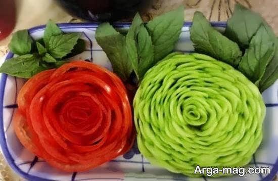 طرح هایی بینظیر از تزیینات سالاد به شکل گل