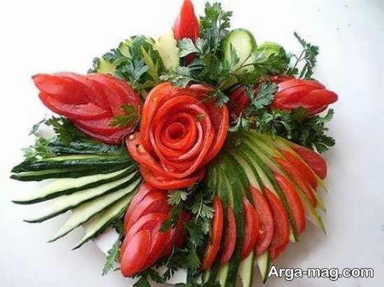 انواع نمونه های بینظیر و متفاوت تزیینات سالاد به شکل گل