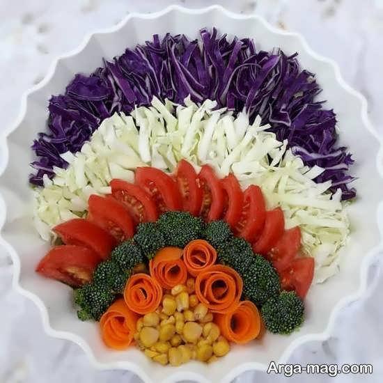 انواع نمونه های زیبا و خلاقانه دیزاین سالاد به شکل گل