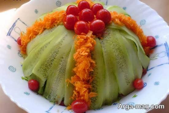 انواع نمونه های جالب و جذاب تزیین سالاد به شکل گل