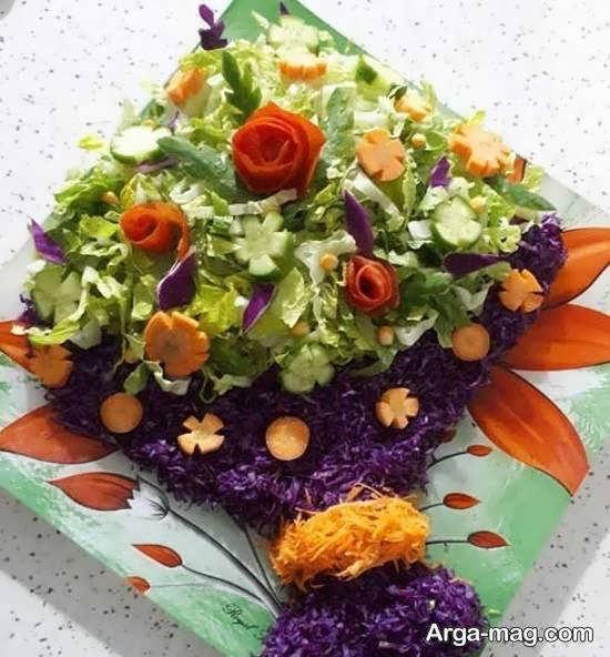 نمونه های زیبا و منحصر به فردی از تزیینات سالاد به شکل گل