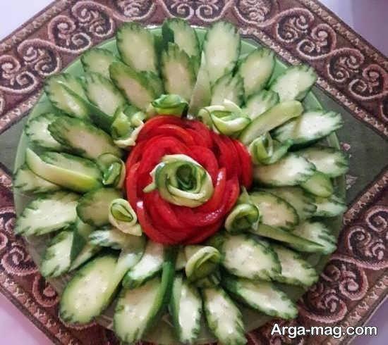 انواع نمونه های ایده آل و ناب تزیین سالاد به شکل گل