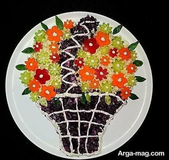 ایده هایی زیبا و تو دل برو از دیزاین سالاد به شکل گل