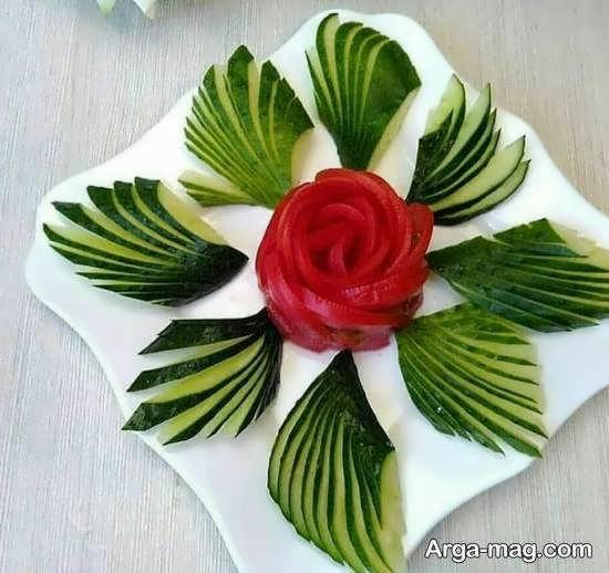 تزیینات سالاد به شکل گل