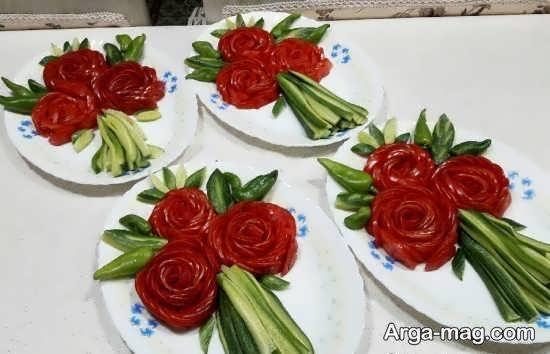 ایده هایی زیبا و متنوع از تزیین سالاد به شکل گل