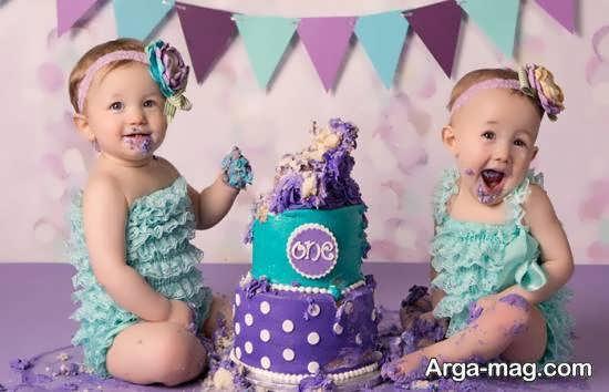 تزیین کیک تولد دوقلوها
