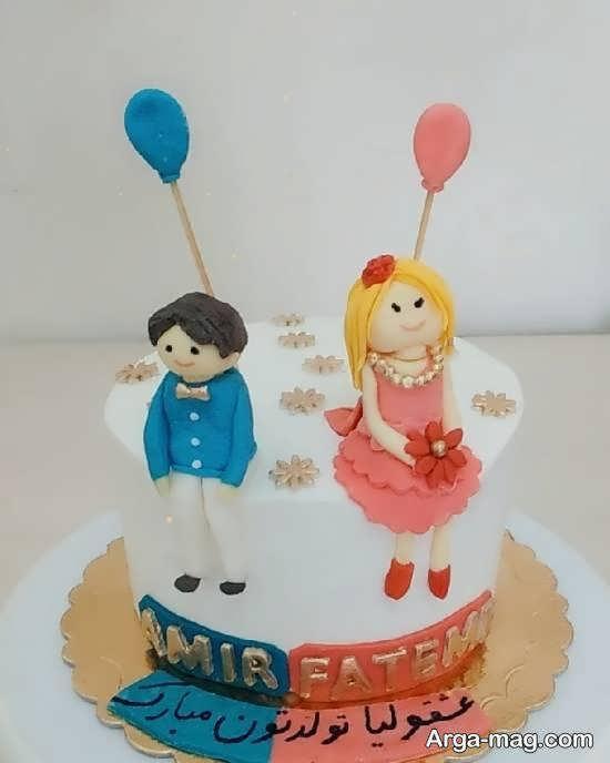 تزیینات شیک کیک تولد دوقلوها