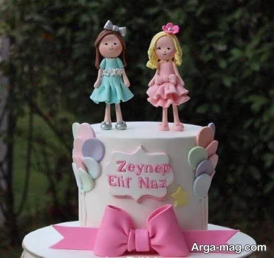 انواع نمونه های تزیین کیک تولد دوقلوها