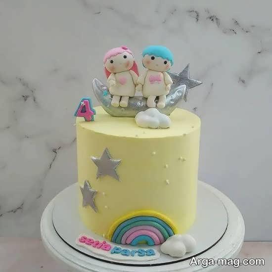 دیزاین زیبا و بینظیر کیک تولد دوقلوها