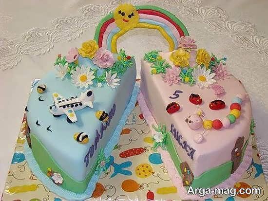 انواع نمونه های ایده آل تزیین کیک تولد دوقلوها