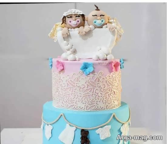 انواع ایده های تزیین کیک تولد دوقلوها