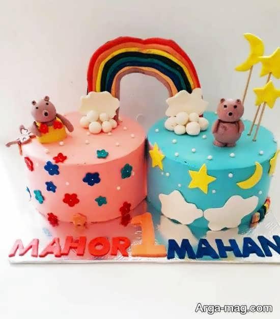 نمونه های بینظیر و کم نظیر دیزاین کیک تولد دوقلوها