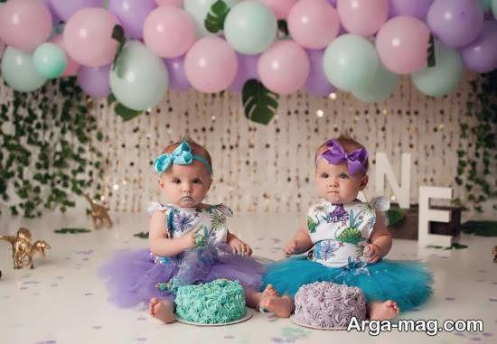 انواع نمونه های زیبا و شیک تزیین کیک تولد دوقلوها