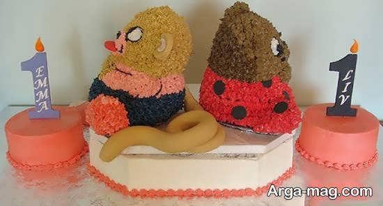 تزیینات و زیباسازی کیک تولد دوقلوها
