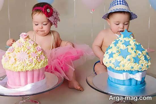تزیینات کیک تولد دوقلوها