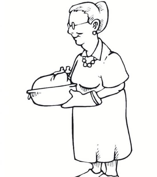 نقاشی ساده و جذاب مادربزرگ