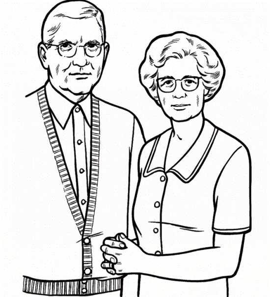 نقاشی مادربزرگ و پدربزرگ