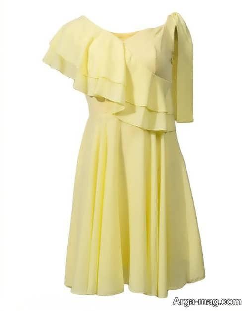 لباس کوتاه مجلسی لیمویی