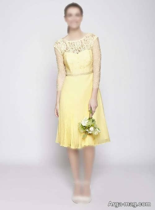لباس مجلسی کوتاه لیمویی