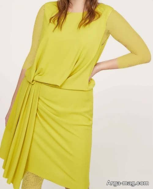 پیراهن زنانه مجلسی لیمویی