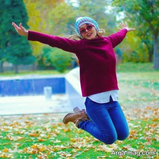 ژست عکس دخترانه در پارک