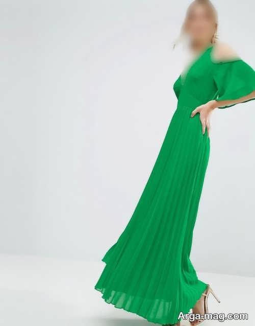 مدل لباس مجلسی سبز و چین دار