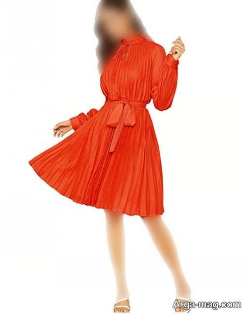 مدل لباس مجلسی چین دار و نارنجی