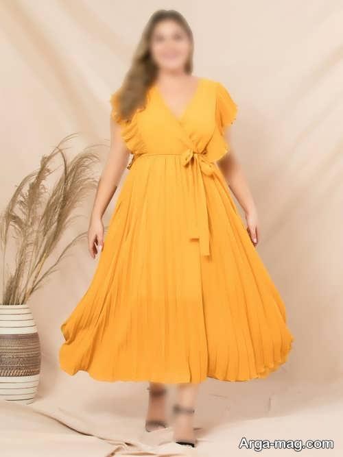 مدل لباس مجلسی زرد و چین دار