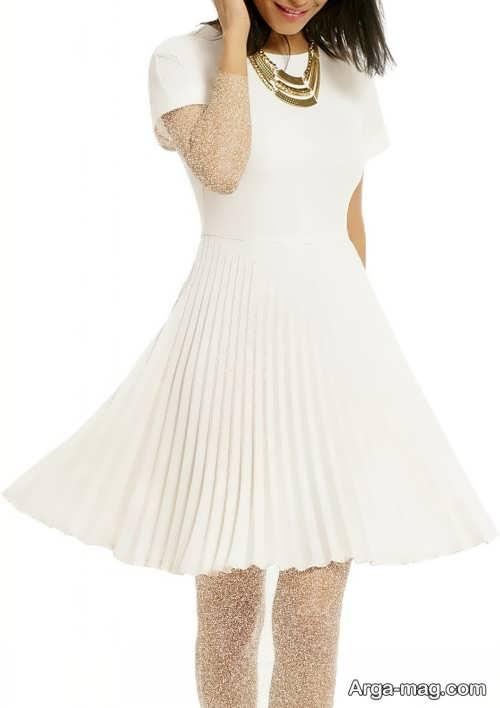 لباس مجلسی سفید چین دار