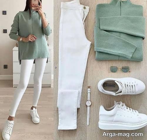 ست لباس سبز با کفش سفید